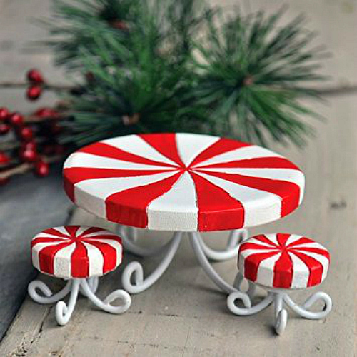 Candy Cane Table Set – Miniature Fairy Garden Furniture