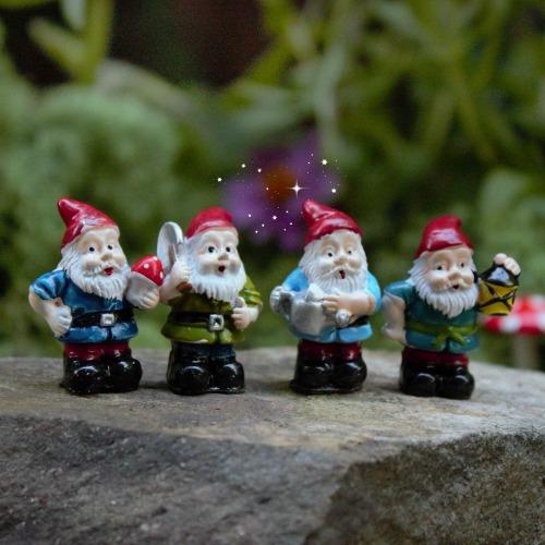 Superior Set Of Four Tiny Gnomes