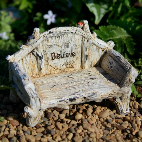 Believe Bench – Miniature Fairy Garden Bench