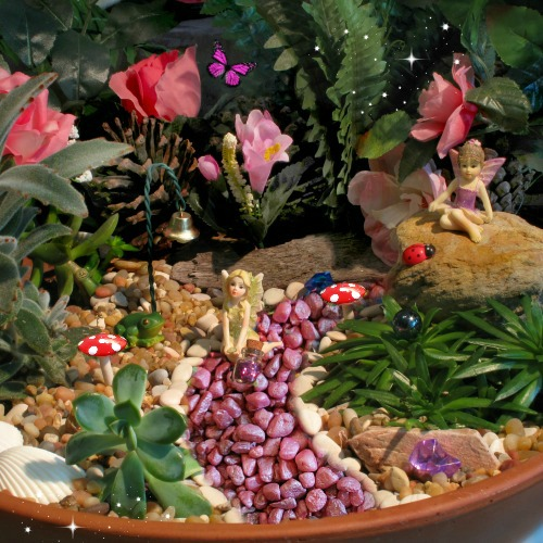 With red mushrooms The-Pink-Fairy-Garden-Starter-Kit-by-Garden-Sparkle