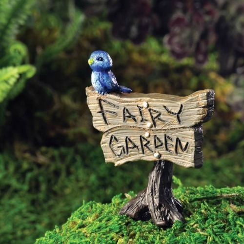 Blue Birdie Fairy Garden Sign – Garden Sparkle – Australia